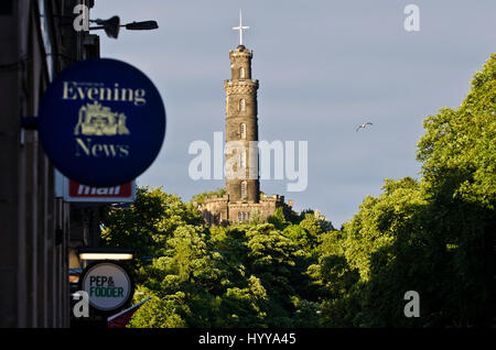 Partial view of Calton Hill, seen from the East End of Princes Street. The tower in the centre of the image is the - Stock Image