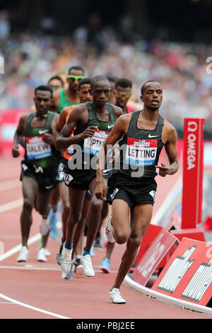 Vincent LETTING (Kenya) competing in the Men's 5000m Final at the 2018, IAAF Diamond League, Anniversary Games, Queen Elizabeth Olympic Park, Stratford, London, UK. - Stock Image
