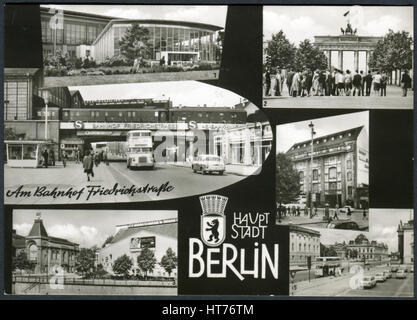 GERMANY - CIRCA 1965: A postcard printed in Germany, shows the landmarks of Berlin, circa 1965 - Stock Image