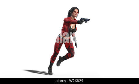 Action girl shooting guns, woman in red leather suit with hand weapons running on white background, 3D rendering - Stock Image