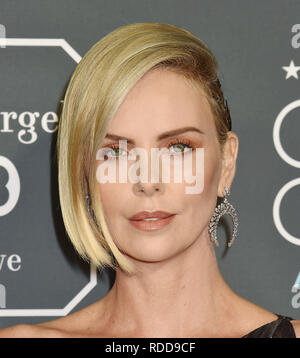 CHARLIZE THERON American film actress  at the The 24th Annual Critics' Choice Awards attends The 24th Annual Critics' Choice Awards at Barker Hangar on January 13, 2019 in Santa Monica, California.  Photo: Jeffrey Mayer - Stock Image
