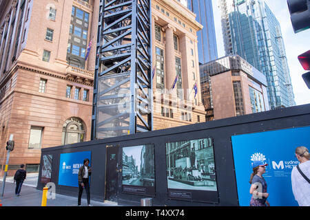 Construction of Sydney Metro public transport project and Martin Place rail station,Sydney,Australia - Stock Image
