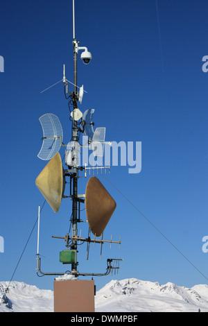 Communication mast on top of Rittner Horn / Corno del Renon, Bozen / Bolzano Area, South Tyrol - Stock Image