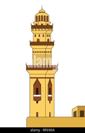 A vector illustration of Minaret Tower - Stock Image