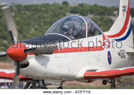 Croatian Air Force Pilatus PC-9 trainer aircraft taxi - Stock Image