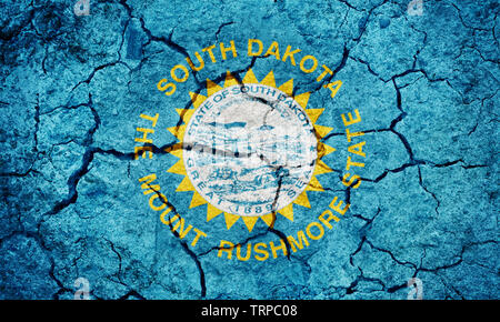 Flag of the state of South Dakota on dry earth ground texture background - Stock Image