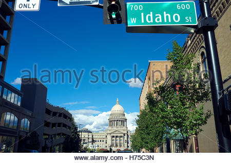 A view towards the Idaho State Capitol building, in Boise, Idaho, USA. - Stock Image