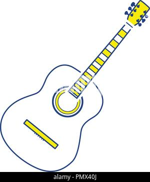 Acoustic guitar icon. Thin line design. Vector illustration. - Stock Image