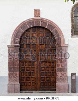 Ornate door of the Church of Our Lady of the Conception, a 16th century church in La Laguna, Tenerife, Canary Islands, - Stock Image