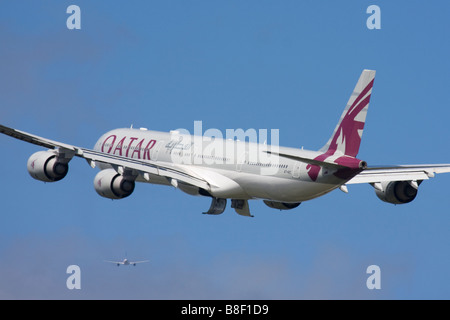 Qatar Airways Airbus A340-642 departure at London Heathrow Airport, United Kingdom - Stock Image