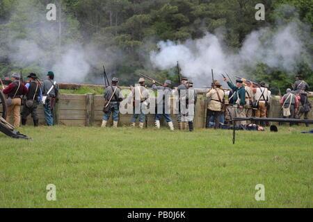Union charge during Civi War Reenactment at Port Hudson, La - Stock Image