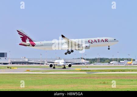 Qatar Airways Airbus A330 at takeoff at Milan - Malpensa (MXP / LIMC) Italy - Stock Image
