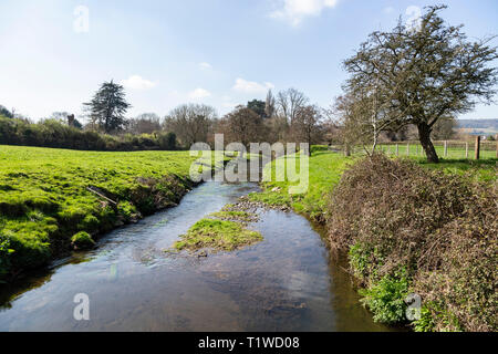 The river Sid at Fortescue, on the outskirts of Sidmouth, Devon, UK, looking south to Sidmouth. - Stock Image