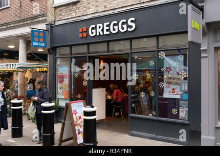 A Greggs branch on Winchester High Street near Christmas time - Stock Image