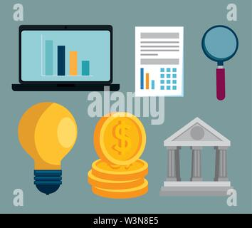 set of office data strategy business information - Stock Image