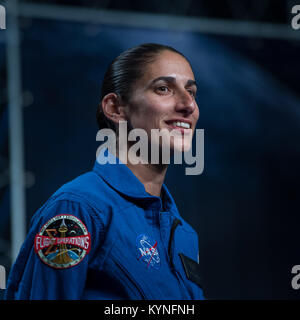 33-year-old NASA astronaut candidate Jasmin Moghbeli smiles as she is introduced as one of 12 new candidates, Wednesday, - Stock Image