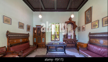 Historical Manial Palace of Prince Mohammed Ali. Ceremonies Room with vintage furniture, Cairo, Egypt - Stock Image