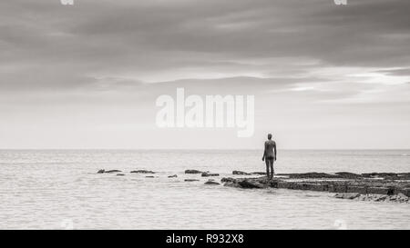 'Another Time'  by Anthony Gormley, Margate, Kent, UK - Stock Image