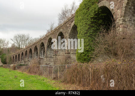 Monmouth Viaduct, now dismantled, carried the  Coleford, Monmouth, Usk & Pontypool Railway line across the River Wye. - Stock Image