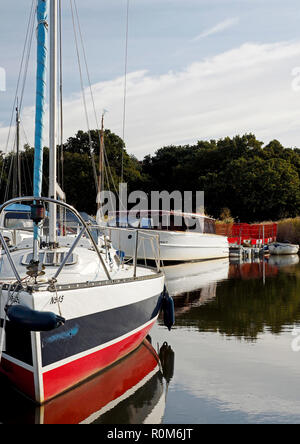 Boats on temporary moorings at Horsey Mere on the Norfolk Broads while the cut to Horsey Staithe is closed for a culvert repair. - Stock Image