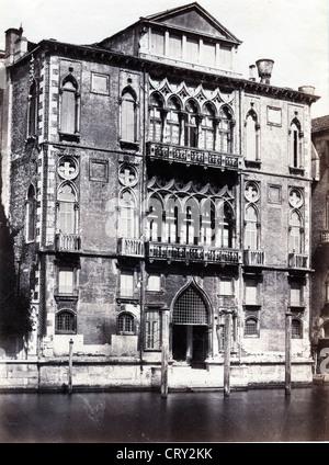 Palazzo Cavalli-Franchetti, Venice, ca 1880, by Fratelli Alinari - Stock Image