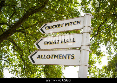 Signpost to the Cricket Pitch, Great Hall and Allotments on the Cholsey Meadows development at Cholsey, Oxfordshire, formerly the Fair Mile Hospital - Stock Image