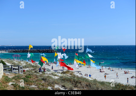 public art display of flags on Cottesloe Beach, as part of 2010 Sculpture By The Sea exhibition. Perth, Western - Stock Image