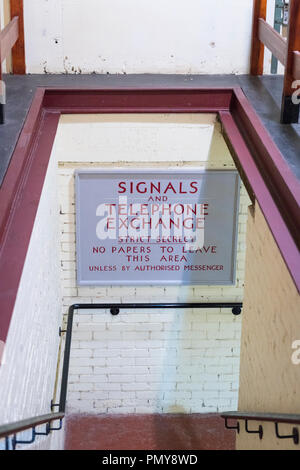 Liverpool Exchange Flags Western Approaches HQ WWII Second World War Derby House museum bunker steps access sign Citadel Fortress Citadel Fortress - Stock Image