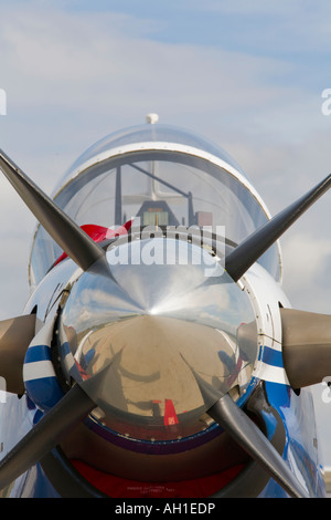 Turbo prop aircraft close up of propeller spinner - Stock Image