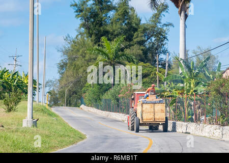 Tractor and wagon delivers a large load of bottled water to resorts on the north coast of Cuba. - Stock Image