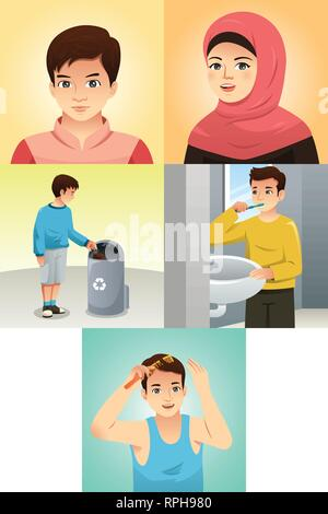 A vector illustration of Muslim Kids Doing Activities - Stock Image