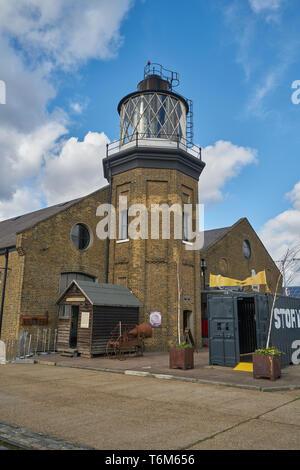 farday lighthouse triity bouy wharf - Stock Image