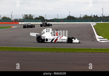 James Hagan spins out whilst driving a 1974, Hesketh 308B, during the FIA Masters Historic Formula One Race at the 2017, Silverstone Classic - Stock Image