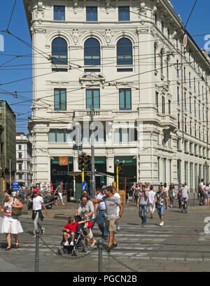 crosswalk in Piazza Cordusio, Milan, Italy - Stock Image