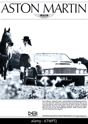 1960s Nova Magazine October 1968 Advertisement for Aston Martin DBS DB6 Volante cars by David Brown FOR EDITORIAL - Stock Image
