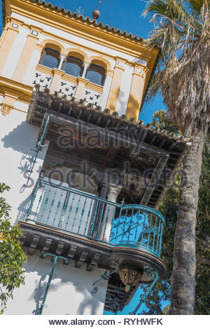 Balcony said to be the site of Rosina's famous balcony in the opera 'The Barber of Seville'. - Stock Image