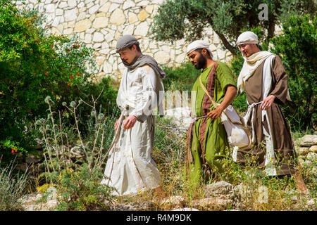5 May 2018 Young men in period costume in the open air museum of Nazareth Village Israel. This site provides an authentic look at the life and times o - Stock Image
