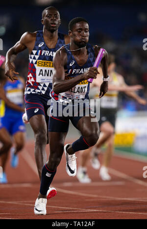 YOKOHAMA, JAPAN - MAY 12: Ludvy Vaillant of France in the B final of the mens 4x400m  during Day 2 of the 2019 IAAF World Relay Championships at the Nissan Stadium on Sunday May 12, 2019 in Yokohama, Japan. (Photo by Roger Sedres for the IAAF) - Stock Image