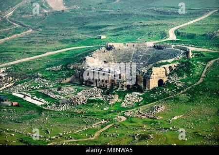 Ancient Greek Roman city of Hierapolis at Pamukkale, Denizli, Turkey. Aerial view of the Roman Theatre - Stock Image