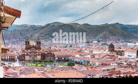 Panorama of the city of Cusco and the Plaza de Armas - Stock Image