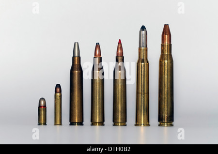 Cartridges, bullets, lined up, upright - Stock Image