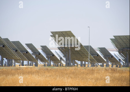 Solar Reflector, Solucar Solar Power Station, Seville, Andalucia, Spain - Stock Image