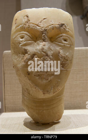 A Figurine Head with Complexion. 650 BC - 600 AD. Najran, Saudi Arabia. Saudi Commission for Tourism and National Heritage. - Stock Image