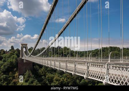 The Clifton Suspension Bridge spanning Avon Gorge and River Avon, Bristol, UK - Stock Image