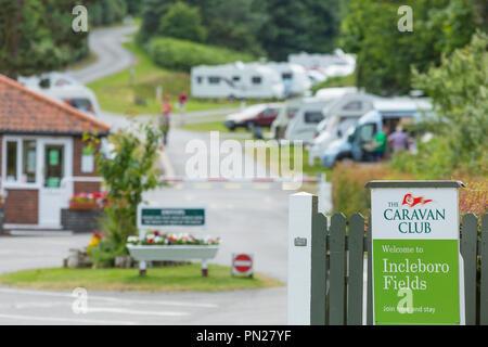 Entrance to a Caravan Club site near Cromer. - Stock Image