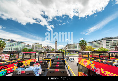 Hop on-off bus in Lisboa - Stock Image
