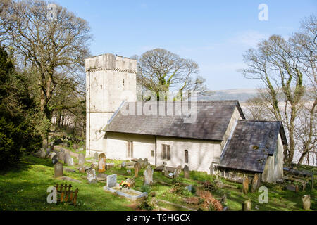 Small rural 14th century Norman church of St Illtyd with battlemented tower on Gower Peninsula, Oxwich, West Glamorgan, South Wales, UK, Britain - Stock Image