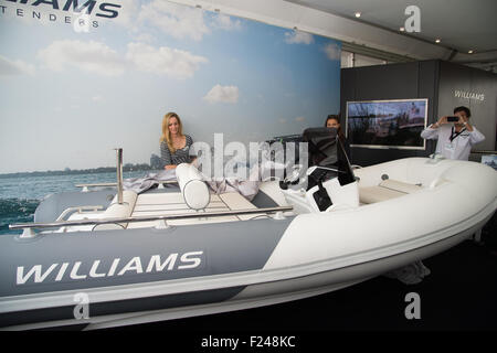 Southampton, UK. 11th September 2015. Southampton Boat Show 2015. Williams Tenders unveil their Sportjet 400 at - Stock Image