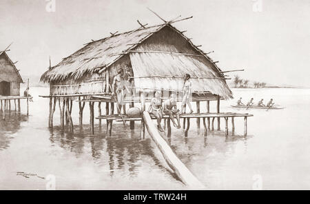 A marine village of Tupuselei, New Guinea.  After a work by J. Macfarlane. From a contemporary print c.1935. - Stock Image