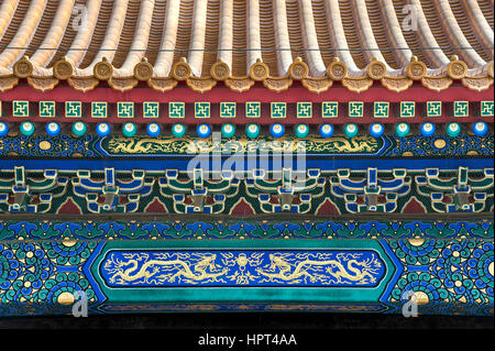 Roof detail with dragon design at the Forbidden City, Beijing - Stock Image